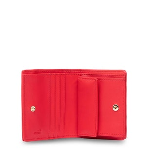 Red Leather  Quilted Flap Wallet