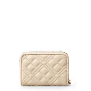 White Leather  Quilted Zipper Wallet