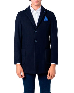Blue Two Button Long Sleeve Coat