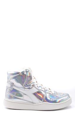 Metallic High Cut Lace Up Sneakers