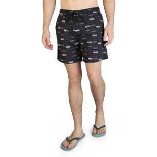 Black Graphic Elastic Frogs Swimshorts