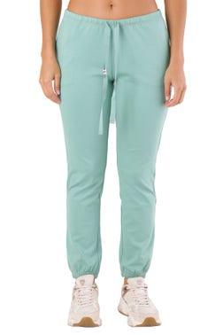 Green Plain Elastic Waist Trouser