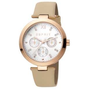 Leather White Dial Stone Analog Watch