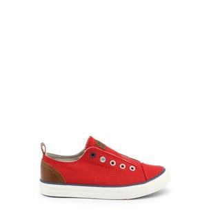 Red Round Toe Eyelet Kids Sneakers