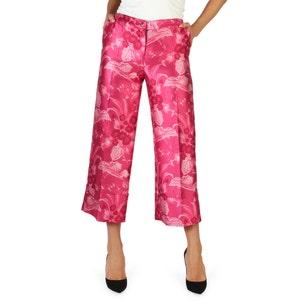 Floral Print Button Zipper Trouser