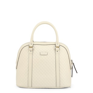 White Leather Round Zipper Handbag