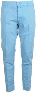 Blue Button Zip Classic Plain Trouser