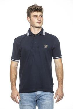 Navy Collar Neck Stripes Logo Polo Shirt