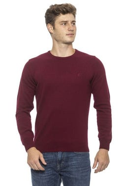 Red Crew Neck Long Sleeve Pullover Knitwear
