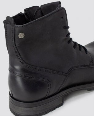 Black Antracite Leather Ankle Boots