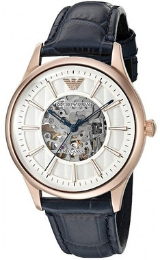 Sporty Navy Leather Band Watch