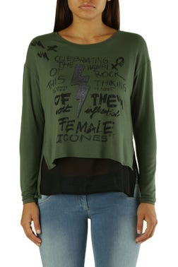 Green Round Neck Printed Knitted Top