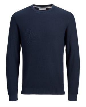 Grey Round Neck Long Sleeve Knit Sweatshirt