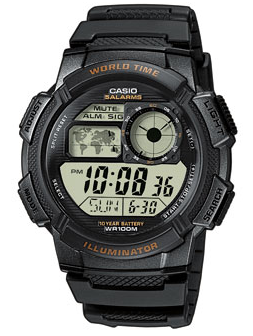 Black Illuminator Quartz Resin Strap Watch