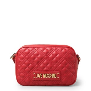 Red Zipper Quilted Crossbody Bag
