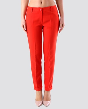 Red Chic Plain Trousers