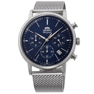 Blue Chronograph Multifunction Mesh Steel Strap Watch