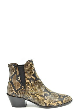 Snake Print Elastic Ankle Boots