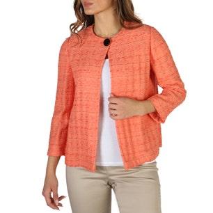 Orange Round Neck Button Blazer