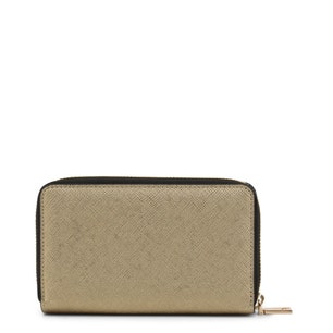 Yellow Leather Round Zipper Wallet