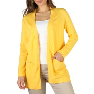 Yellow Open Front Long Sleeve Sweater