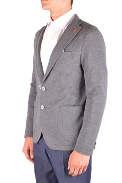 Grey Single Breasted Blazer Multi Pockets