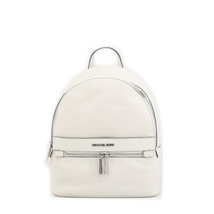 White Leather Zipper Kenly Backpack
