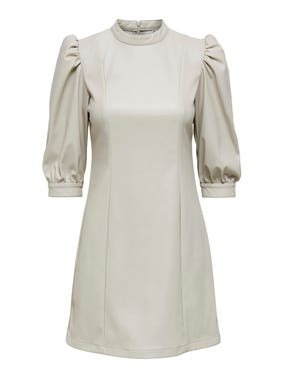 Beige Turtleneck Zip Back Midi Dress