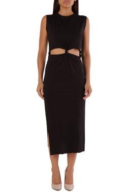 Black Round Neck Slit Dress