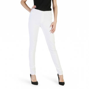 White Skinny Fit Button Zipper Jeans