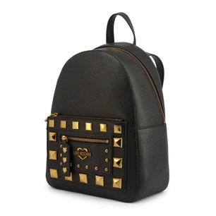 Black Leather Zip Studs Backpack