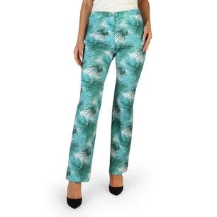 Button Zipper Floral Print Trouser