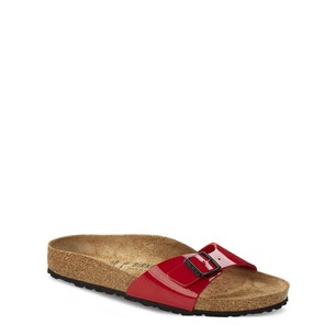 Red Patent Buckle Strap Flat Sandals