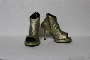 Gold High Steleto Open Toe Boots