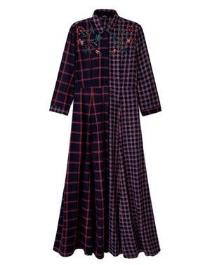 Button Checkered Shirt Dress