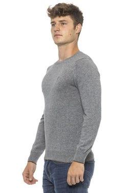 Grey Round Neck Long Sleeve Logo Knitwear