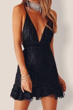 Black Ayla Long Sleeve Mini Dress