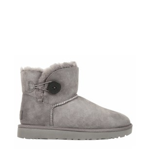 Grey Suede Fur Button Ankle Boots