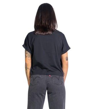 Black Round Neck Fold Sleeve T-shirt