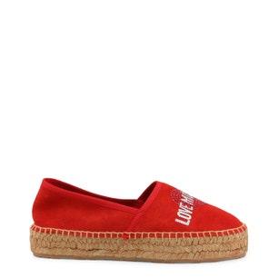 Red Round Toe Glitter Slip On Espadrille