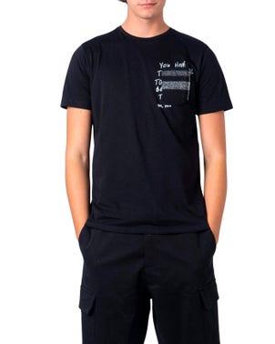 Black Round Classic Printed T Shirt