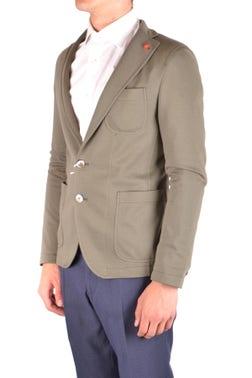 Green Single Breasted Blazer Multi Pockets