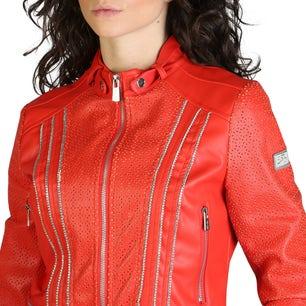 Red Long Sleeve Zipper Embellish Jacket