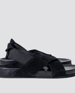 Pure Black Leather Sandals