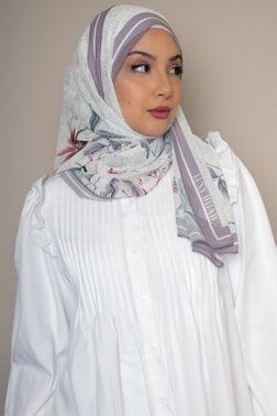 White Floral Printed Hijab