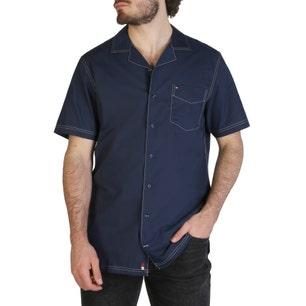 Collar Button Pocket Short Sleeve Shirt