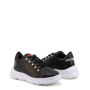 Black Heart Leather Chunky Sneakers