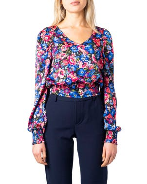 Pink Long Sleeve Floral Print Blouse