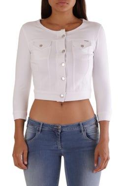 White Round Neck Button Crop Blazer