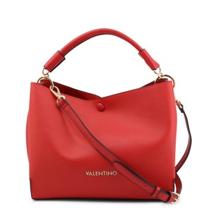 Red Vliss Button Leather Handbag